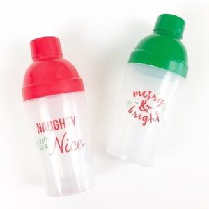 NEW Set of Christmas plastic cocktail shakers
